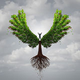 Control Your Life. Opportunity concept as a person taking charge and controlling a tree with wings flying towards a goal for success as a psychology symbol for royalty free illustration