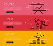 Control Your Money. Line vector web banners set Royalty Free Stock Photography