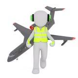 Controlador aéreo de la historieta con el aeroplano libre illustration