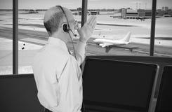 Controlador aéreo en el trabajo Fotografía de archivo