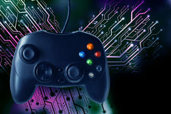 Controlador do manche do jogo com o gráfico da placa de circuito Imagens de Stock