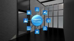 Controle autolift in de Slimme bouw, Internet van dingen die grafische informatie bouwen Slimme stad royalty-vrije illustratie