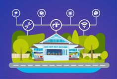 Controle centralizado do sistema esperto da tecnologia energética do verde da casa da iluminação, do aquecimento, da ventilação e Imagens de Stock Royalty Free