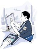 Controle da verificação do passaporte no aeroporto ilustração royalty free
