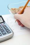 Controle diário da entrada da nutrição Fotos de Stock Royalty Free