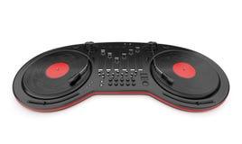Controle do misturador da música do DJ com disco 3D Imagens de Stock Royalty Free
