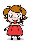 Controle do olho e da língua - ilustração inteligente do vetor da menina dos desenhos animados do adolescente ilustração do vetor