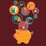 Controle e gestão da finança pessoal do vetor Fotografia de Stock Royalty Free