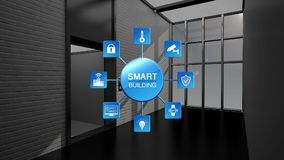 Controle el elevador auto en el edificio elegante, Internet de las cosas que construyen el gráfico de la información Ciudad elega libre illustration