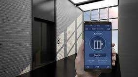 Controle el elevador auto en el edificio elegante, usando el teléfono elegante, móvil Internet de las cosas que construyen, ciuda stock de ilustración