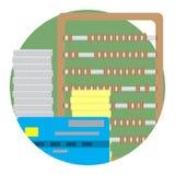 Controle en inspectie de vector van het financiënpictogram Stock Afbeelding