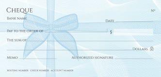 Controle, het malplaatje van Chequechequebook Guilloche patroon met blauw boogwatermerk royalty-vrije illustratie