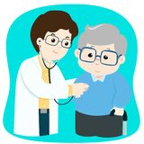Controle idoso com vetor dos desenhos animados do doutor imagem de stock royalty free