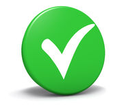 Controle Mark Symbol Green Button Royalty-vrije Stock Foto