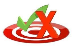 Controle Mary en x-teken over een doel Royalty-vrije Stock Afbeeldingen