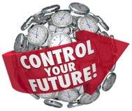 Controle su progreso delantero que hace tictac de los relojes de las palabras del futuro Imagen de archivo