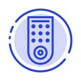 Controle, telecontrole, linha pontilhada azul linha ícone da tevê ilustração stock
