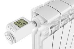 Controle Thermoregulator da válvula no radiador ilustração royalty free