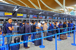 Controle van de Shenzhen de internationale luchthaven in tellers Royalty-vrije Stock Foto's