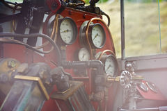 Controlebord van een stoomtrein in Tierra del Fuego stock afbeeldingen
