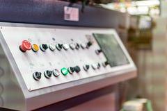 Controlebord van modern en geavanceerd technisch van automatische publicatie of drukmachine royalty-vrije stock foto