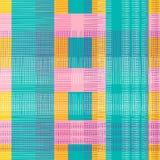 controleer naadloos patroon met punchy pastelkleuren De achtergrond van houthakkerspatronen voor textiel de drukvector van de vro stock illustratie