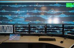 Controlekamer van spoorweg stock fotografie