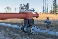 Controleklep op gasleiding Stock Foto's