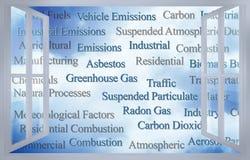 Controlelijst van in openlucht luchtverontreinigende stoffen door een open venster worden gezien - conceptenbeeld dat stock illustratie
