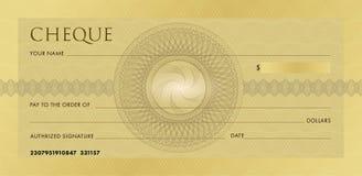 Controlemalplaatje, Chequebook-malplaatje Lege gouden bedrijfsbankcheque met guilloche patroonrozet en samenvatting royalty-vrije illustratie