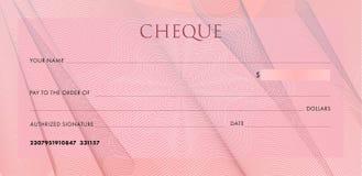 Controlemalplaatje, Chequebook-malplaatje Lege roze bedrijfsbankcheque met guilloche de vouwen en de samenvatting van de patroond royalty-vrije illustratie