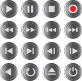 Controlepictogram/van de knoop van verschillende media reeks Stock Foto