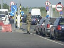 Controlepost hrushiv-Budomezh op de grens met de Oekraïne en Polan stock foto's