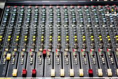 Controler botton. Sound control panel in the control room Royalty Free Stock Images