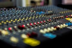 Controler botton. Sound control panel in the control room Stock Photos