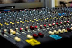 Controler botton. Sound control panel in the control room Royalty Free Stock Photos