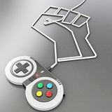 Controler del videojuego con el alambre que forma un puño Imagenes de archivo