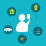 Controlerend Huis met Smartphone Stock Afbeeldingen