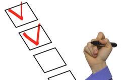 Controlerend lijst met geïsoleerd controleteken Stock Afbeeldingen