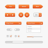 Controles da interface de utilizador da luz alaranjada Elementos do Web Web site, software UI Imagens de Stock Royalty Free