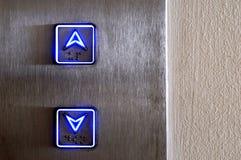 Controles de elevador de neón Fotografía de archivo libre de regalías