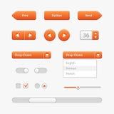 Controles de la interfaz de usuario de la luz anaranjada Elementos del Web Sitio web, software UI Imágenes de archivo libres de regalías