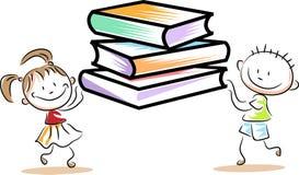 Controles de los niños con los libros ilustración del vector