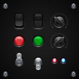 Controles do software de aplicação do carbono UI ajustados Agulheiro, botão, botões, lâmpadas Foto de Stock