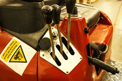 Controles gastados de la carretilla elevadora Imagen de archivo libre de regalías