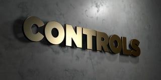 Controles - Gouden teken opgezet op glanzende marmeren muur - 3D teruggegeven royalty vrije voorraadillustratie royalty-vrije illustratie