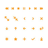Controles móviles planos del jugador e iconos del app del web de las flechas Imagenes de archivo