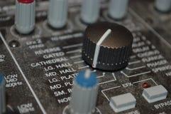 Controles no painel do soundboard Foto de Stock Royalty Free