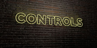 CONTROLES - Realistisch Neonteken op Bakstenen muurachtergrond - 3D teruggegeven royalty vrij voorraadbeeld royalty-vrije illustratie