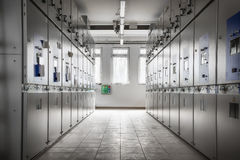 Controll room. An electric station controll room, building inside royalty free stock photos